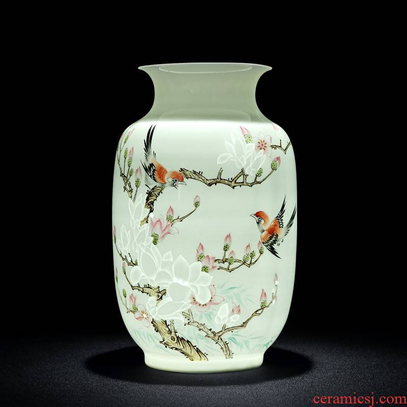 Jingdezhen ceramic vase decoration furnishing articles Chinese style is I and contracted sitting room small and pure and fresh and exquisite porcelain arts and crafts