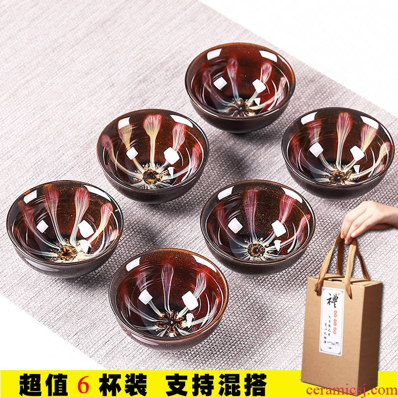 Variable tea sets kung fu tea cups small household 6 cups with ceramic sample tea cup only master cup single cup lamp