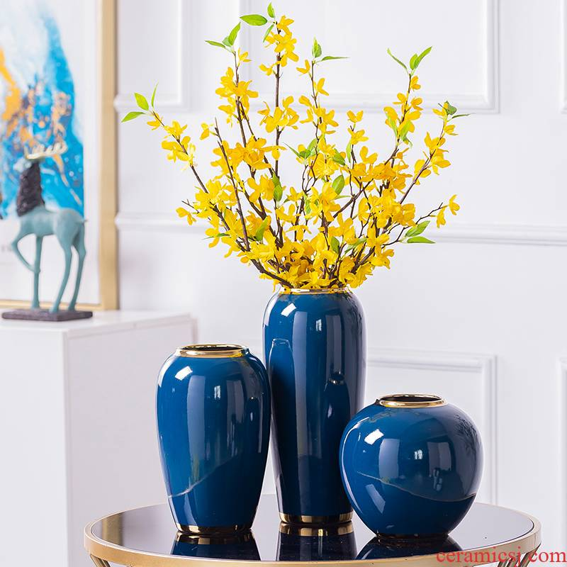 New Chinese style living room light key-2 luxury ceramic vase furnishing articles flower arranging TV ark, creative household decoration flower table decorations