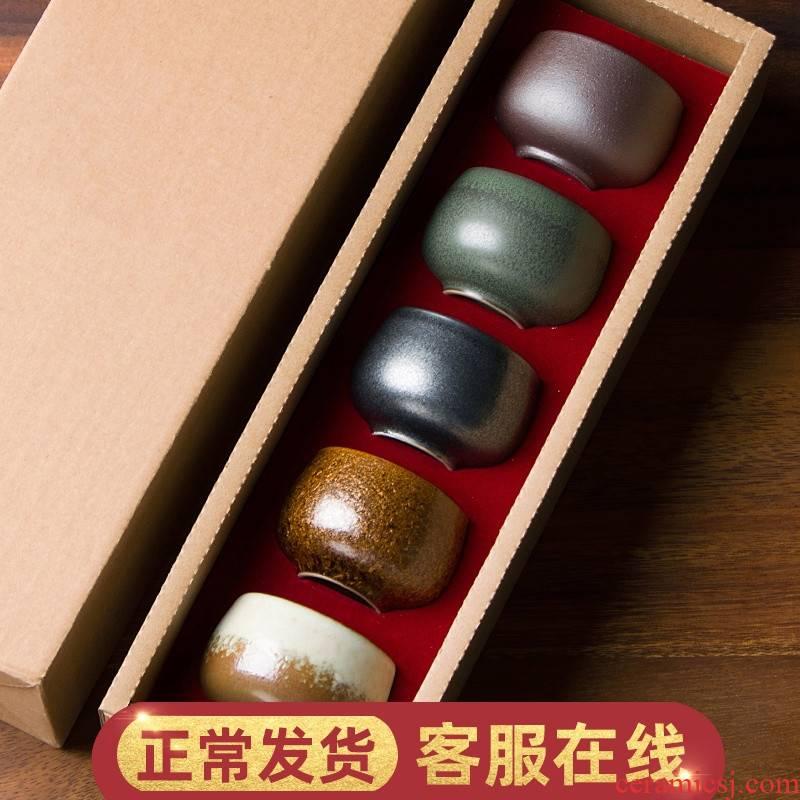 W poly real scene five ancient jun ceramic sample tea cup set coarse pottery teacup gift boxes Japanese single CPU kung fu tea set