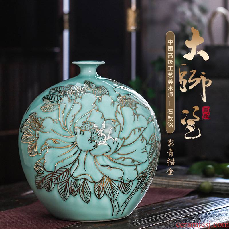 The Master of jingdezhen ceramics vase hand - made blue glaze paint the living room of Chinese style household adornment place adorn article