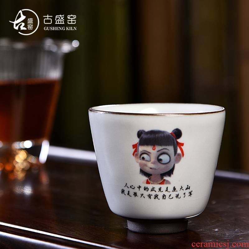 Ancient sheng up imitation hand - made ceramic which child Cha familiars reincarnation sample tea cup your up open piece of coloured drawing or pattern master of kung fu cup