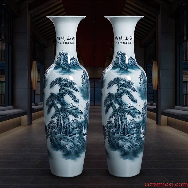 Extra large floor vase of blue and white porcelain of jingdezhen ceramics new sitting room hotel decoration of Chinese style household furnishing articles