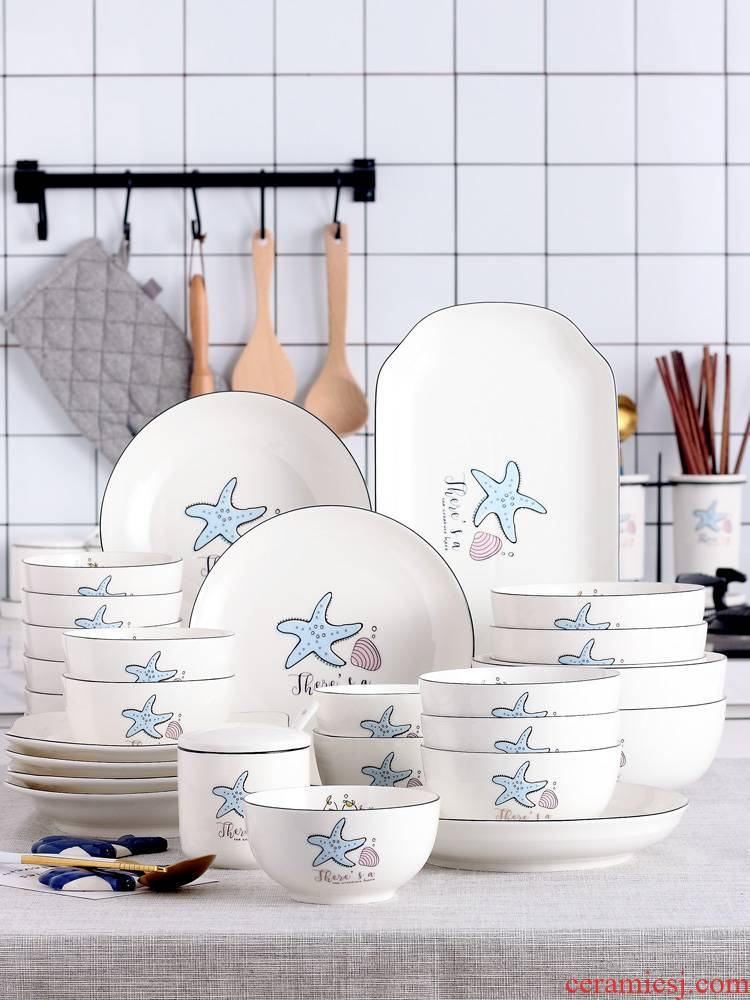 0 home dishes dumplings the jingdezhen ceramic dish to eat noodles soup bowl Nordic contracted lovely tableware portfolio