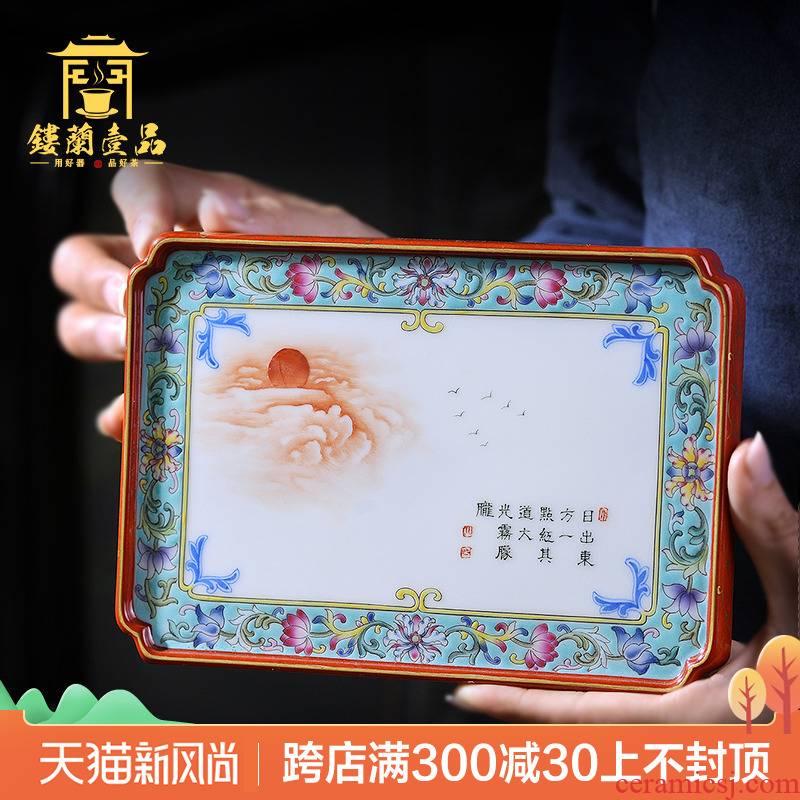 Jingdezhen ceramic tea pet hand - made pastel bound all branches decorative porcelain plate furnishing articles kung fu tea mat cup tea tray