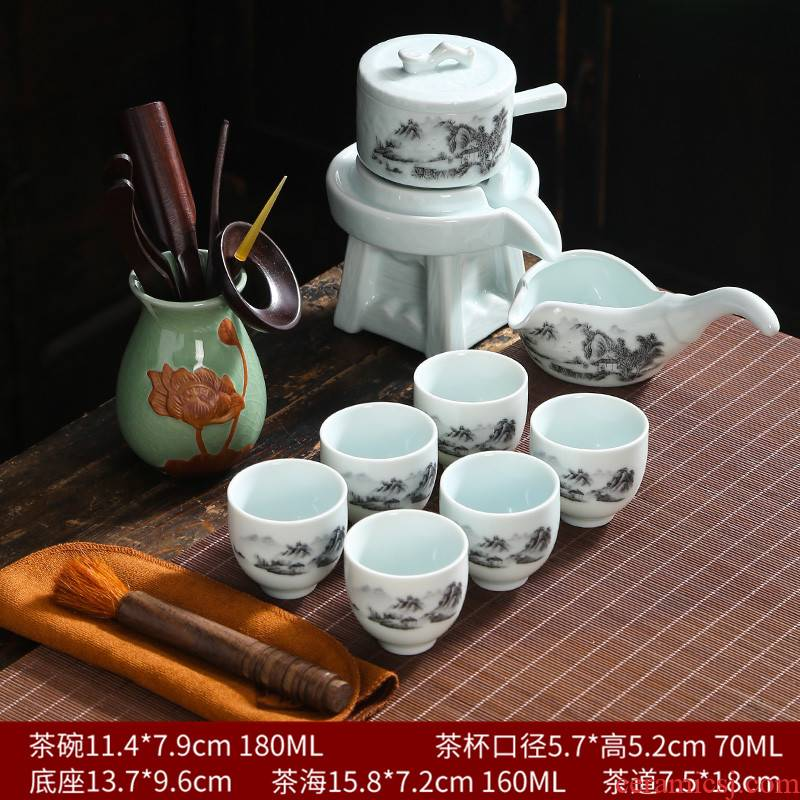 Kung fu tea set ceramic household lazy fortunes atone half automatic teapot teacup contracted