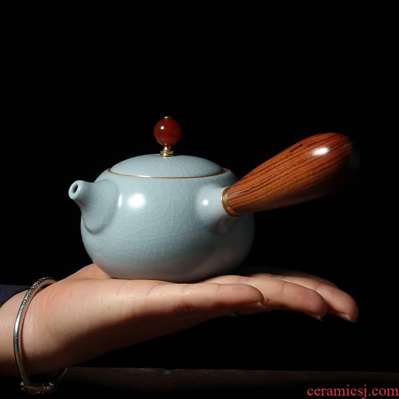 Your up side put the pot of xi shi ceramic teapot kung fu tea tea set small single wooden handle Your porcelain teapot the teapot
