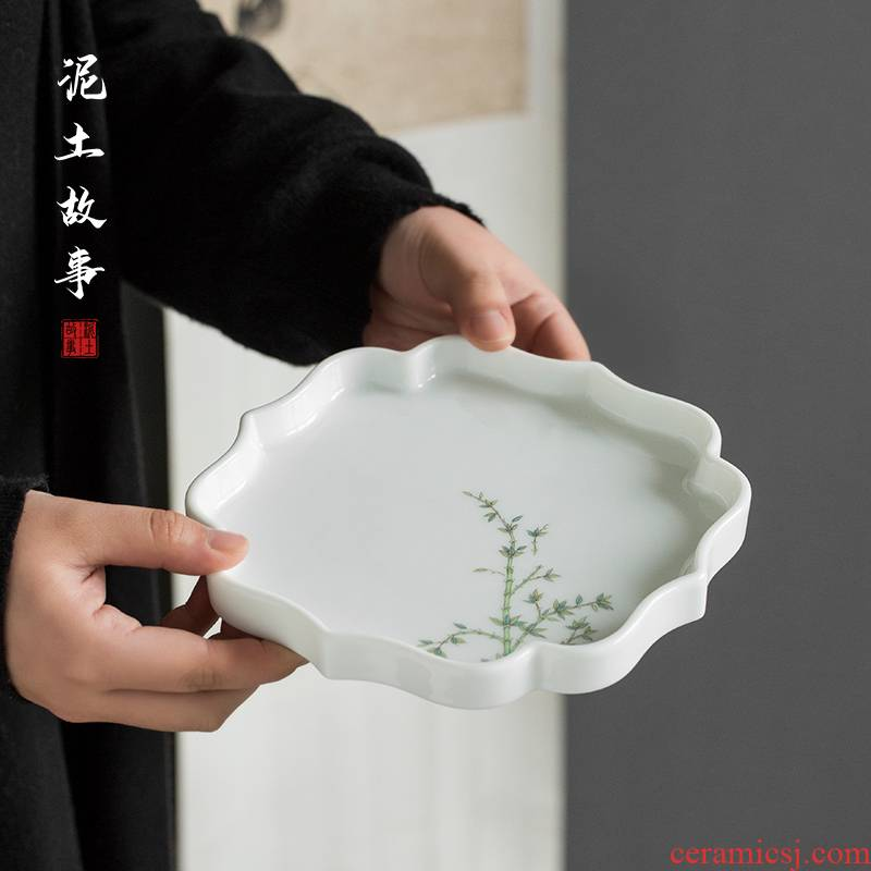 Jingdezhen sweet white porcelain pot of bearing dry bamboo table manually raise plate small pot manual creative tea accessories