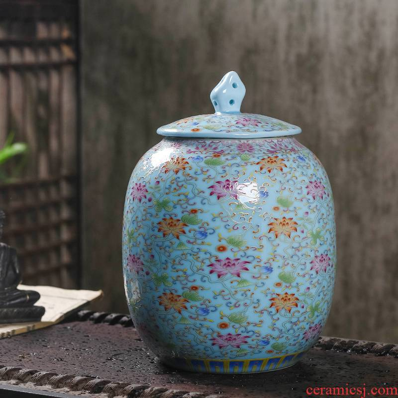 Retro 1 catty caddy fixings ceramic a large seal pot moistureproof household pu - erh tea POTS with tea container