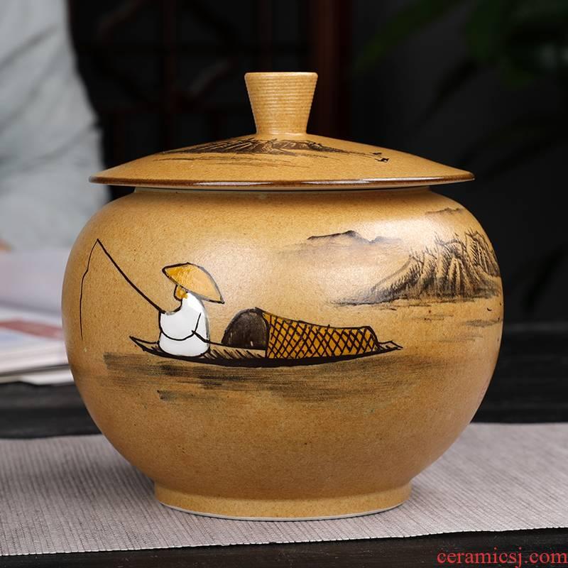 Pure manual jingdezhen ceramic tea pot large seal pot moistureproof scented tea tea pu 'er tea packaging box