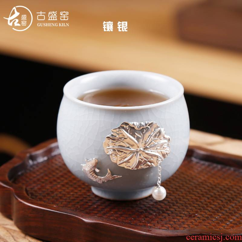 Ancient your up kung fu sheng up small silver cups household single ceramic masters cup silver cup tea tasted silver gilding