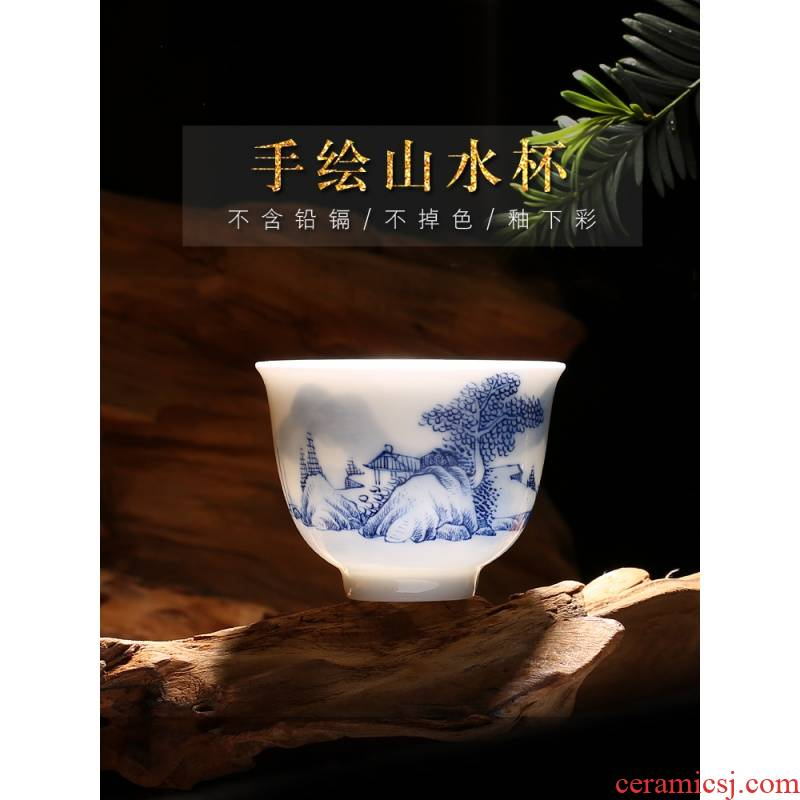 The Poly real scene of jingdezhen ceramic hand - made master kung fu tea cups landscape of blue and white porcelain tea cups of a single CPU