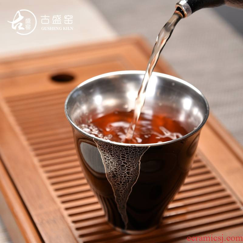 The ancient new gift boxes mo yu sheng up ceramic tasted silver gilding agate glaze large sample tea cup personal single cup of tea