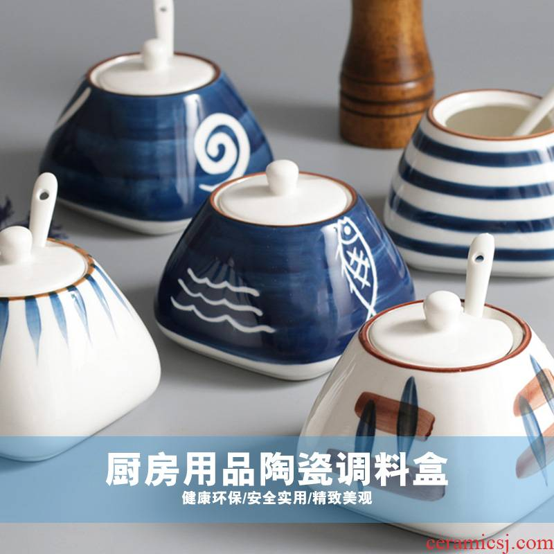 Ceramic flavor pot three - piece with the cover kitchen household necessities pot seasoning box of seasoning sauce bottles suits for
