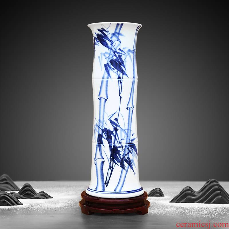 Jingdezhen ceramic vase hand - made large ground bamboo lucky bamboo flower place indoor sitting room adornment