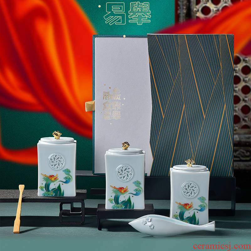 The Poly real scene high - grade wen gen gift tea sets many hands make light work celadon caddy fixings box with the customer support