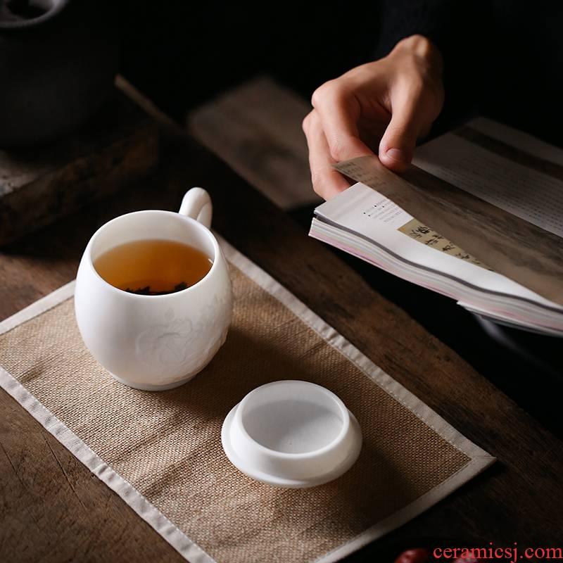 Dehua manual biscuit firing porcelain keller with cover glass ceramics meeting office tea cups