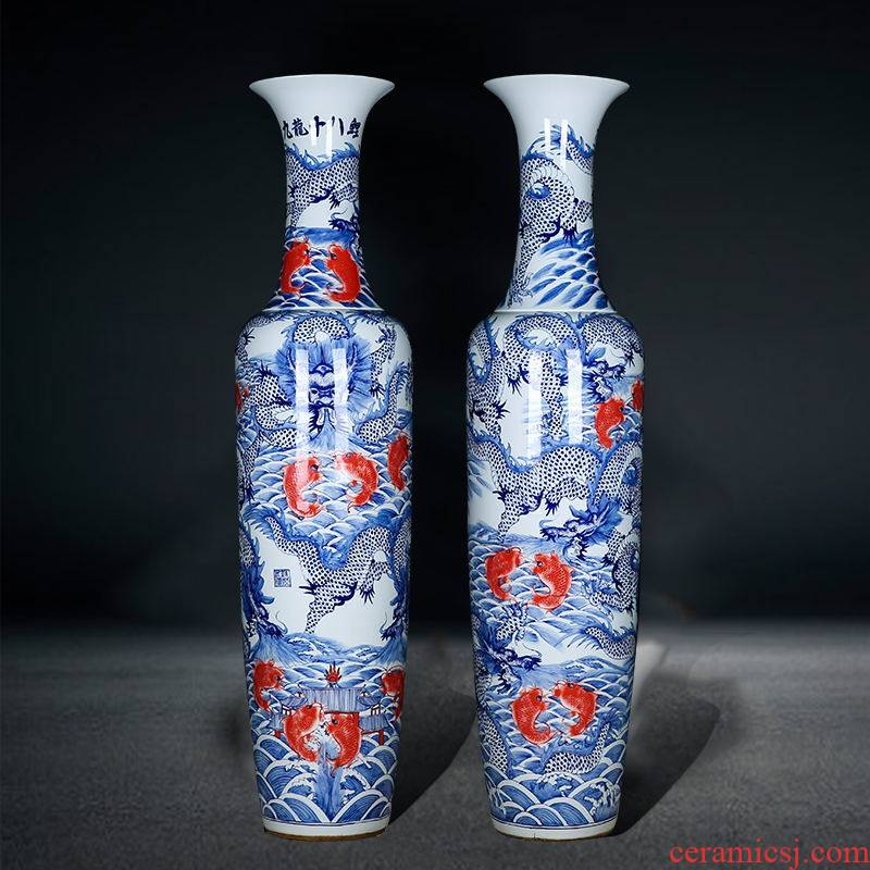 Blue and white porcelain of jingdezhen ceramics of large vases, Kowloon 18 carp sitting room hotel opening gifts company