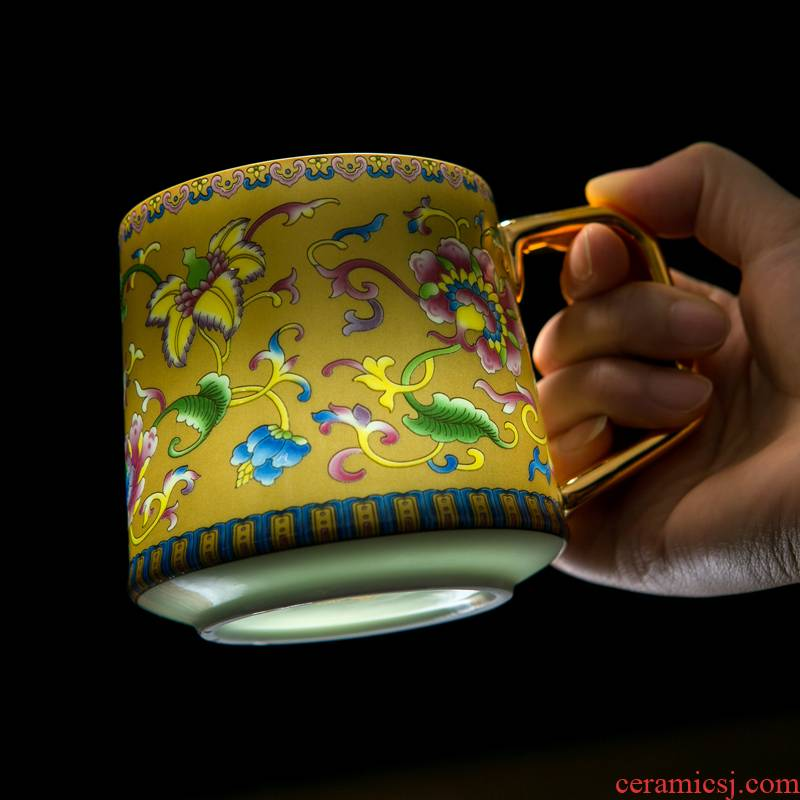 Jingdezhen ceramic cups colored enamel paint hand - made the size with a single filtration separation tea tea cup