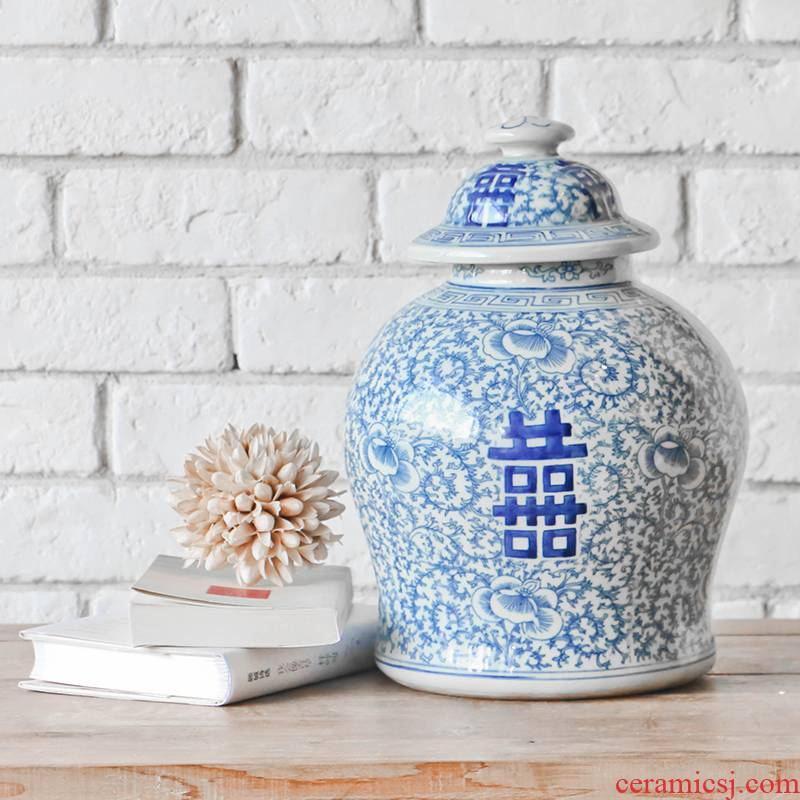 Blue and white tie up lotus flower day happy character word altar archaize do old ceramic storage tank with cover Chinese style household adornment furnishing articles