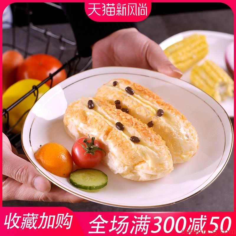 Manual gold six pack 】 jingdezhen ipads porcelain ceramic soup plate suit square deep dish plate of flat plate