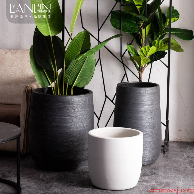 Nordic contracted ceramic vase simulation tree tree flower pot decorative furnishing articles outside cylinder large sitting room ground flowerpot