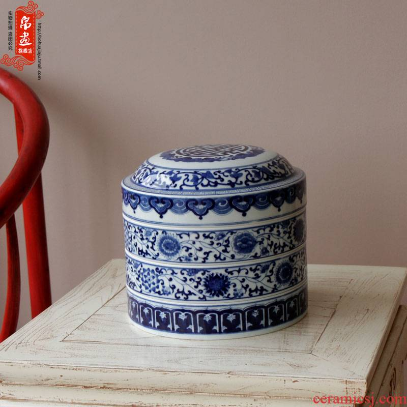 Shadow enjoy classical caddy fixings of blue and white porcelain painting | jingdezhen ceramics glaze color tea cake tin ceramic JH