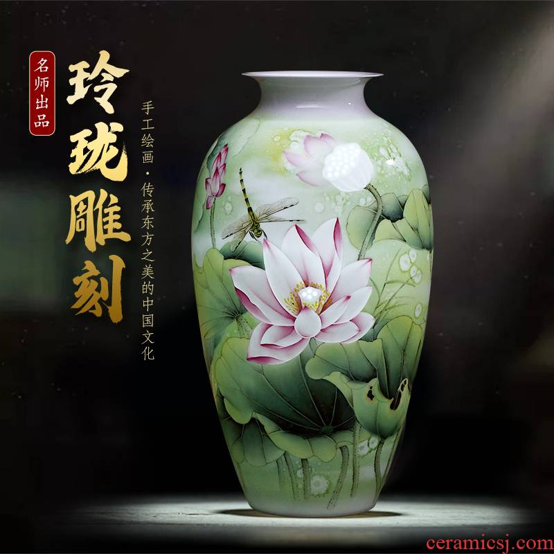 Jingdezhen ceramics famous master hand draw large lotus flower vase gift porcelain decorative household items furnishing articles
