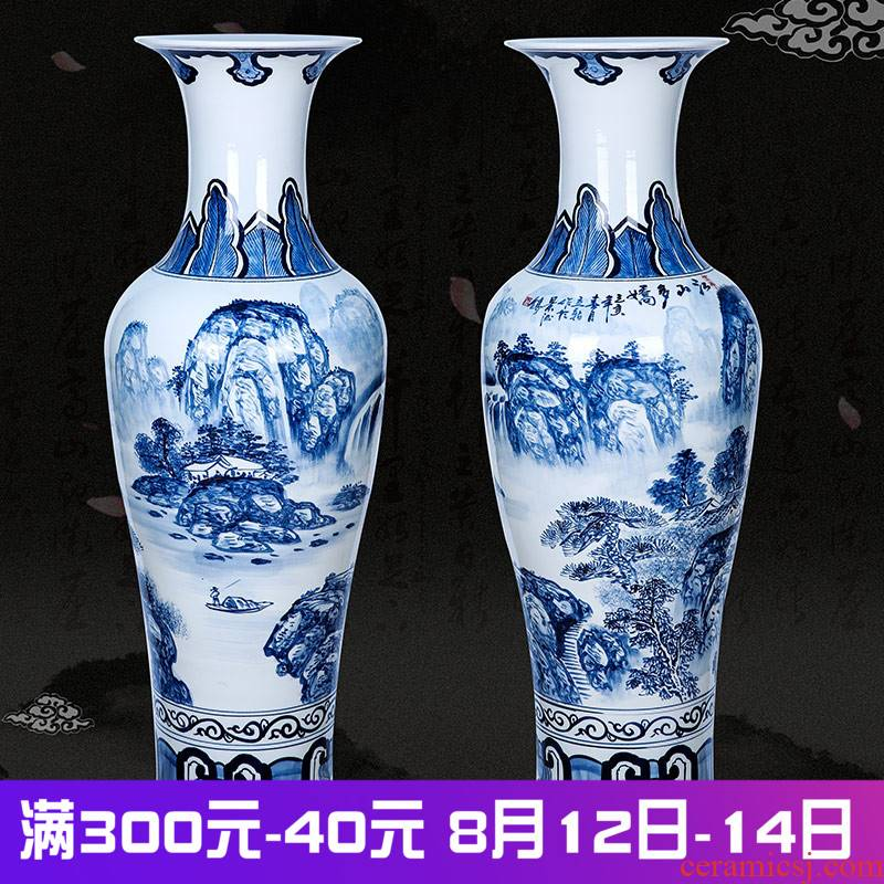Jingdezhen ceramics landing large vases, hand - made antique blue and white landscape more than jiangshan jiao sitting room hotel furnishing articles