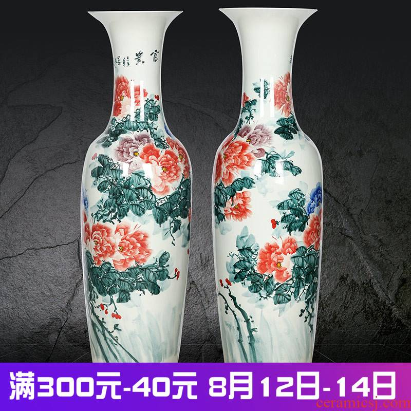 Jingdezhen ceramics hand - made peony hotel opening adornment decorates new home furnishing articles of large vase living room