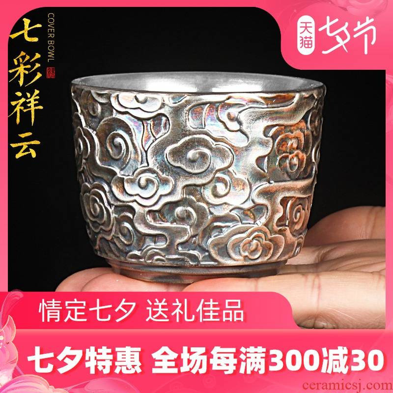Artisan fairy antique silver mine loader master cup single CPU ceramic household pure manual individual cup kung fu tea sample tea cup