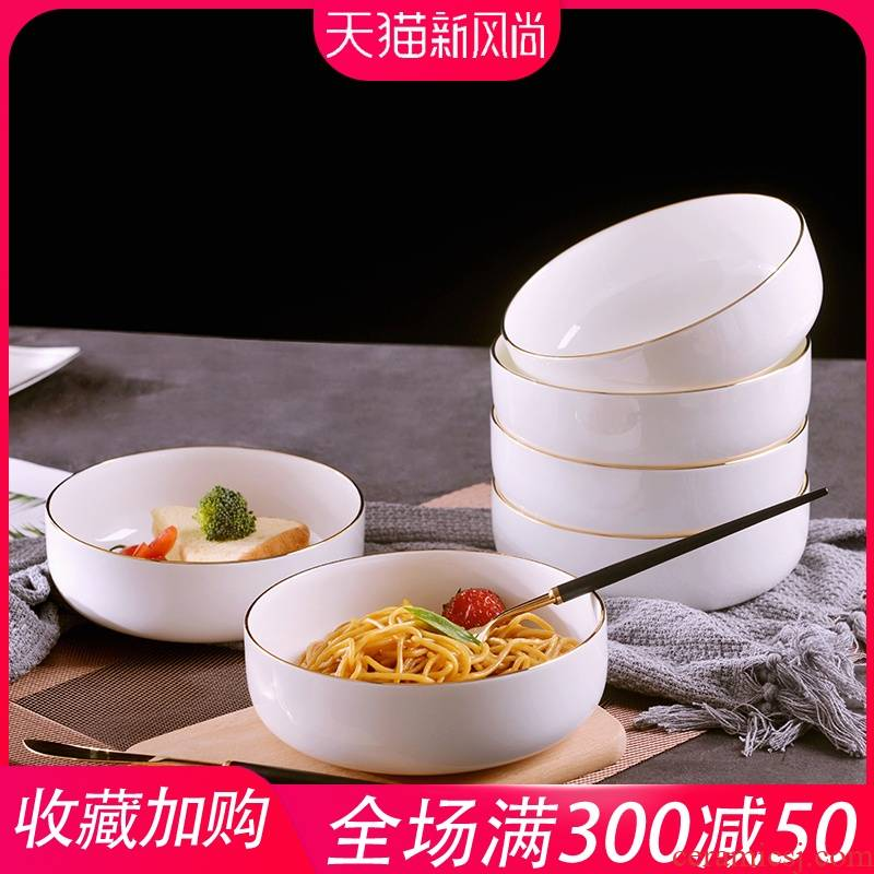 Creative household manual gold 】 【 up phnom penh dish deepen dish plate north European ceramic circular soup plate suit