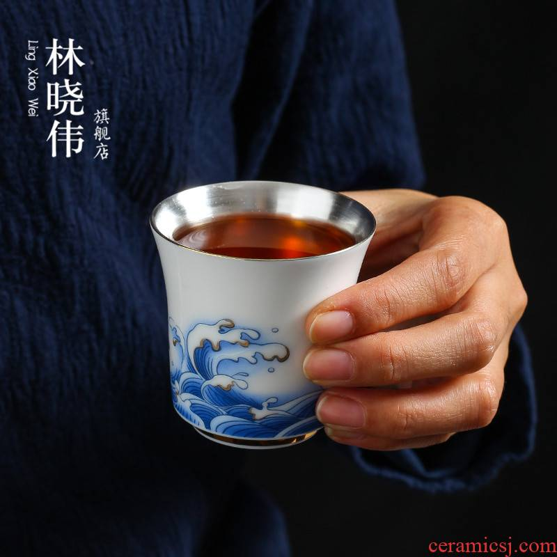 Suet jade single CPU coppering. As silvery white jade porcelain teacup ceramic kung fu masters cup tea sample tea cup individual creative move