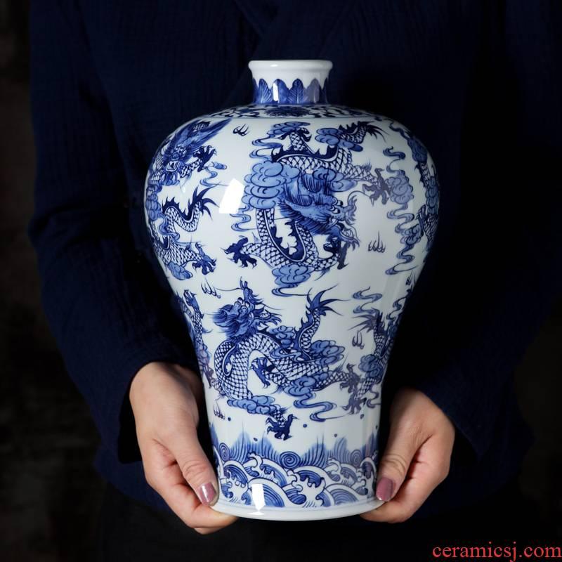 Jingdezhen porcelain hand - made ceramic vase furnishing articles study adornment archaize sitting room nine Long Mei bottle