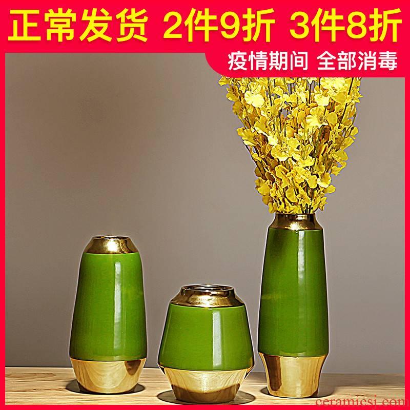 Jane 's light key-2 luxury modern new Chinese style living room TV cabinet ceramic vase household adornment simulation flower art flower arranging furnishing articles