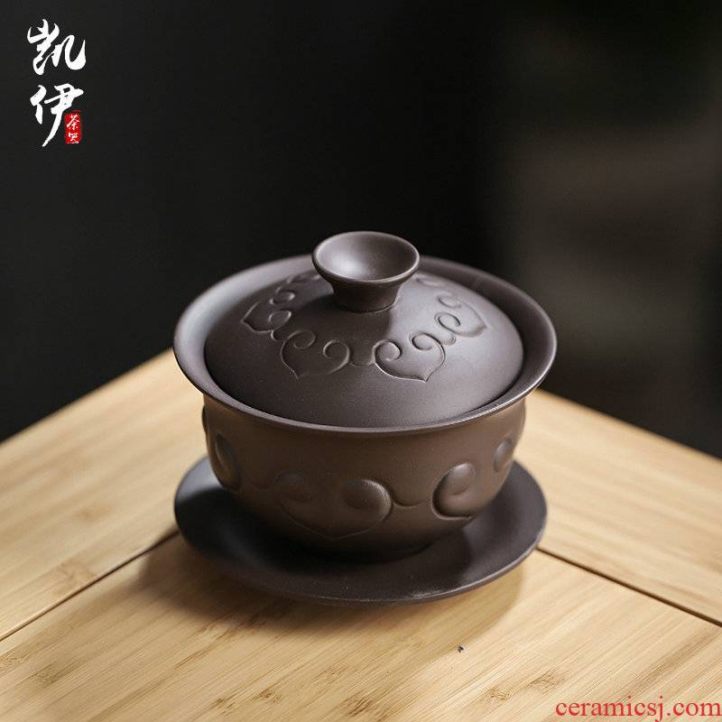 Undressed ore tureen dark purple clay mud violet arenaceous kung fu tea set home worship to use yixing what slime three use hand grasp pot