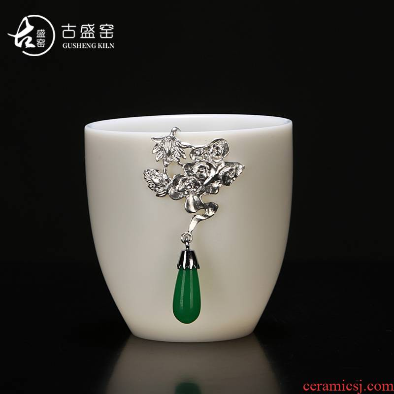 Ancient sheng up new lotus jade porcelain white porcelain inlay silver kaolin jade inlay sample tea cup master cup single CPU