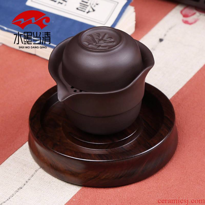 Portable travel violet arenaceous a pot of 2 cup car crack cup kung fu tea set suit individual cup teapot and contracted