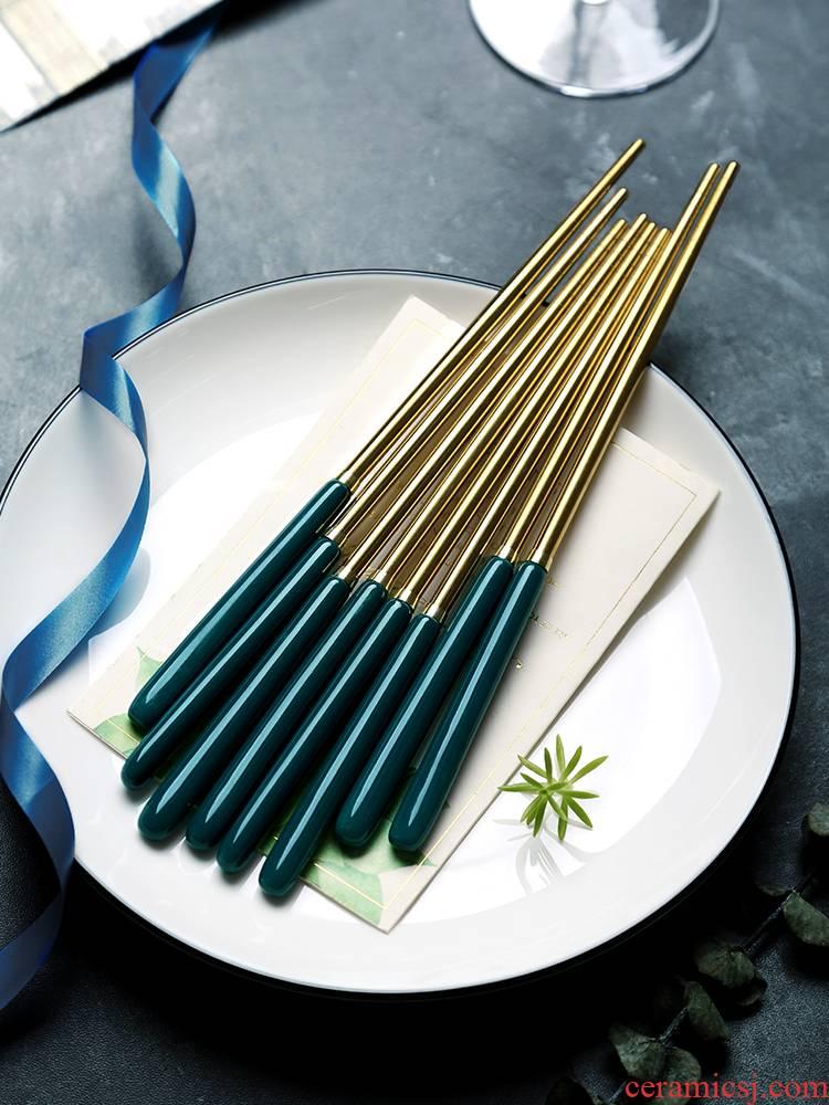 Nordic emerald domestic high - grade ceramic chopsticks tableware key-2 luxury mouldproof Japanese high - temperature portable stainless steel chopsticks