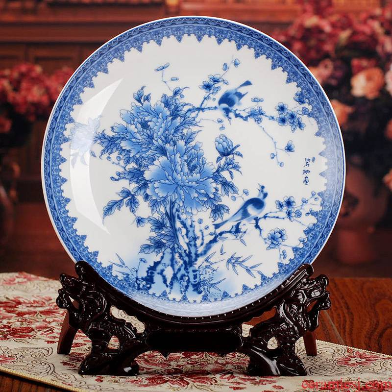 367 jingdezhen ceramic decoration plate plate furnishing articles hang dish of blue and white porcelain peony wedding gift to send