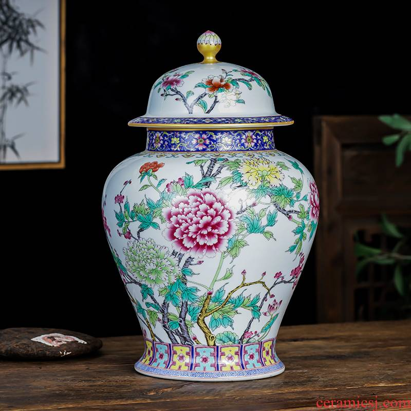 Jingdezhen ceramics large caddy fixings enamel color restoring ancient ways the large capacity with cover household pot loose tea storage tanks