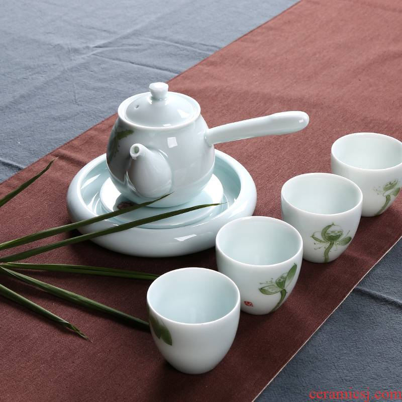 A pot of kung fu tea set four cups of four people A small set of ceramic teapot teacup Japanese home office gift boxes