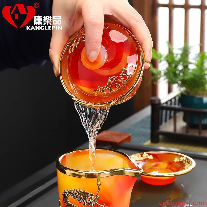Recreational product agate an inset jades three to bowl and thicken the hot stone coloured glaze porcelain tureen rock tea pu - erh tea kungfu tea set