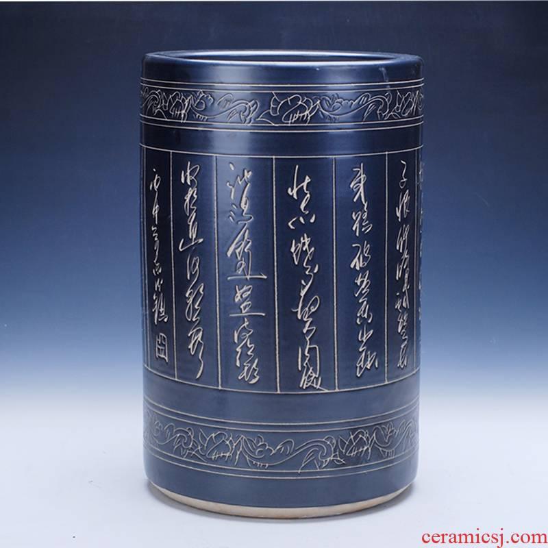 378 jingdezhen ceramic sculptures quiver poetry painting and calligraphy calligraphy and painting scroll painting cylinder cylinder cylinder tube of large umbrella vase