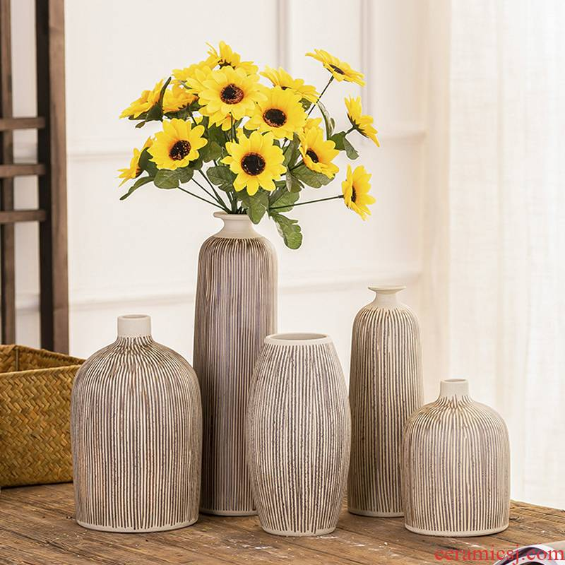 Dried flowers to decorate household act the role ofing is tasted furnishing articles Scandinavian simple ceramic floret bottle of the sitting room TV ark, flower arranging new decoration