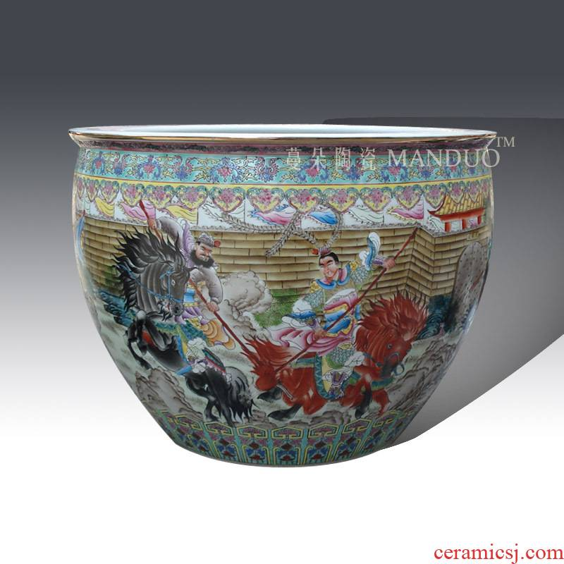 Jingdezhen hand - made pastel three British war lyu3 bu4 ceramic VAT boutique hand - made famille rose porcelain crock