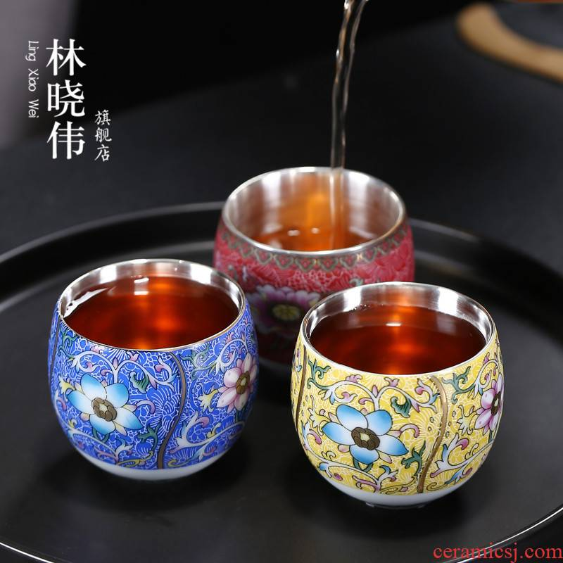 999 sterling silver cup of household ceramic cups coppering. As silver tea master cup single CPU kung fu tea tea bowl