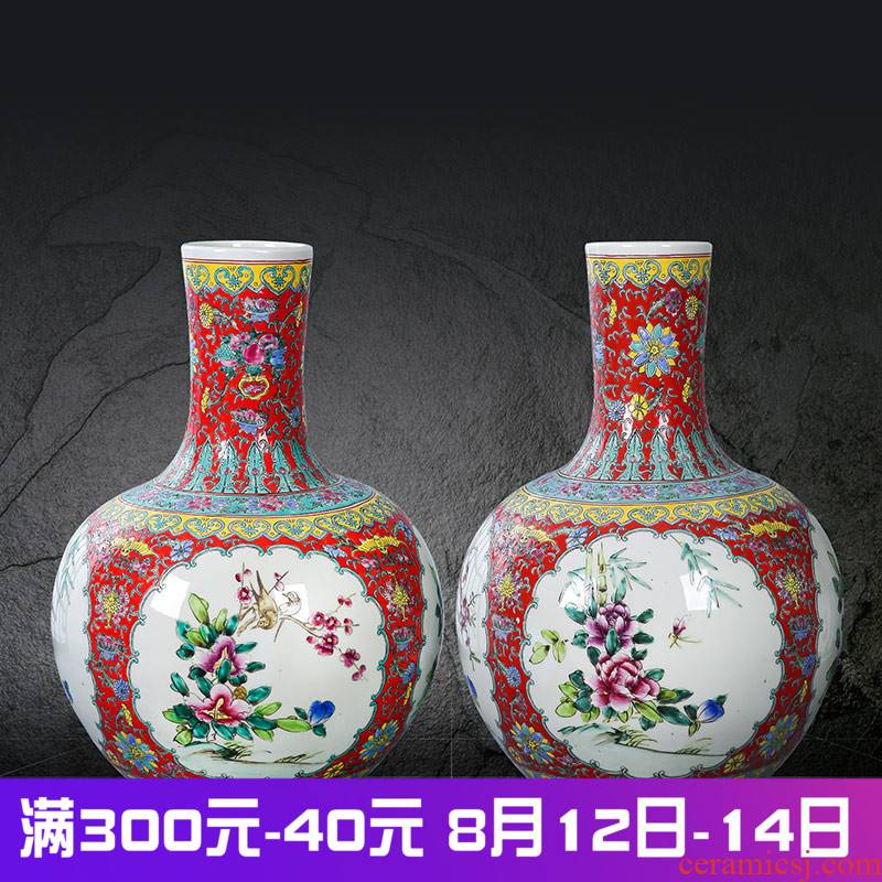 Jingdezhen ceramics powder enamel handpainted large vases, antique home furnishing articles collection tree peony sitting room