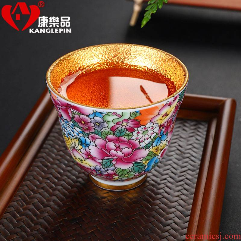 Recreational product colored enamel cups of jingdezhen ceramic checking fine gold master cup kung fu tea cup home