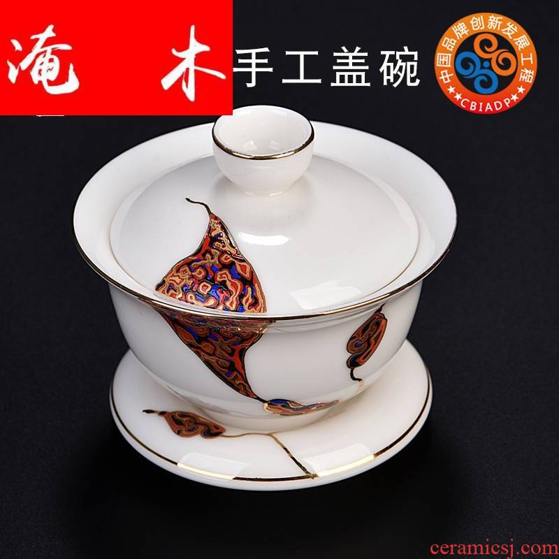 Submerged wood gode hand - made only three bowl dehua white porcelain tureen large kung fu tea cups tea tea set by hand